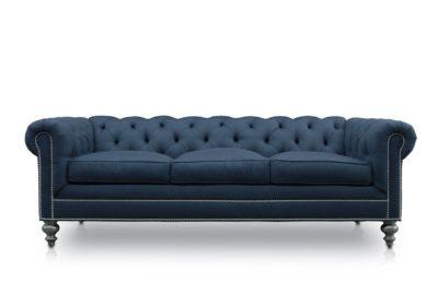 Fitzgerald Classic Chesterfield Sofa In Navy Blue Sunbrella Fabric