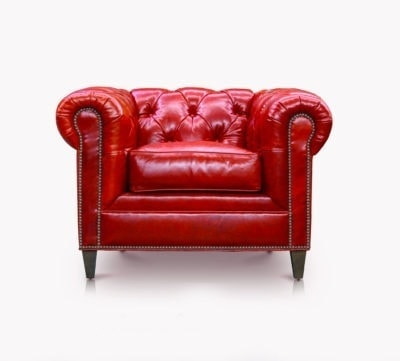 Fitzgerald Chesterfield Armchair In Cherry Red Leather