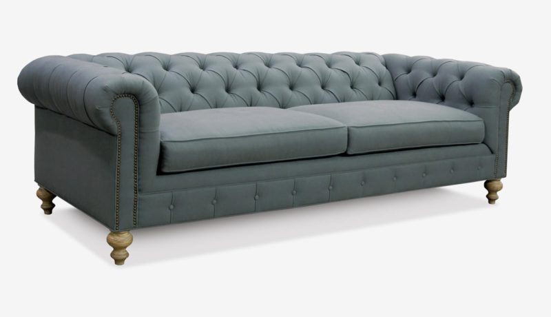 Fitzgerald Classic Chesterfield Sofa In Grey Fabric