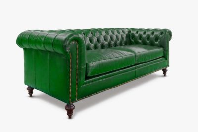 Fitzgerald Chesterfield Sofa In Emerald Green Leather