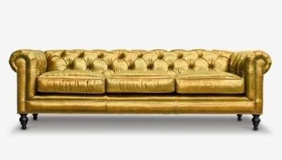 Custom Golden Chesterfield Sofa