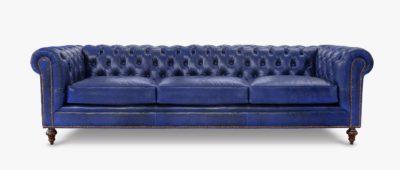 Fitzgerald Vintage Blue Leather Sofa