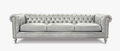 Fitzgerald Vintage White Leather Sofa
