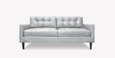Jack White Leather Mid-Century Low Profile Knoll Style Love Seat