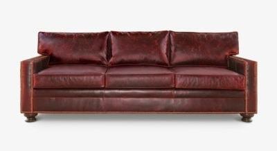 Heston Vintage Brown Leather Sofa With Nailheads