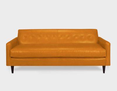 Jack Tight Back Orange Leather Mid-Century Low Profile Knoll Style Sofa