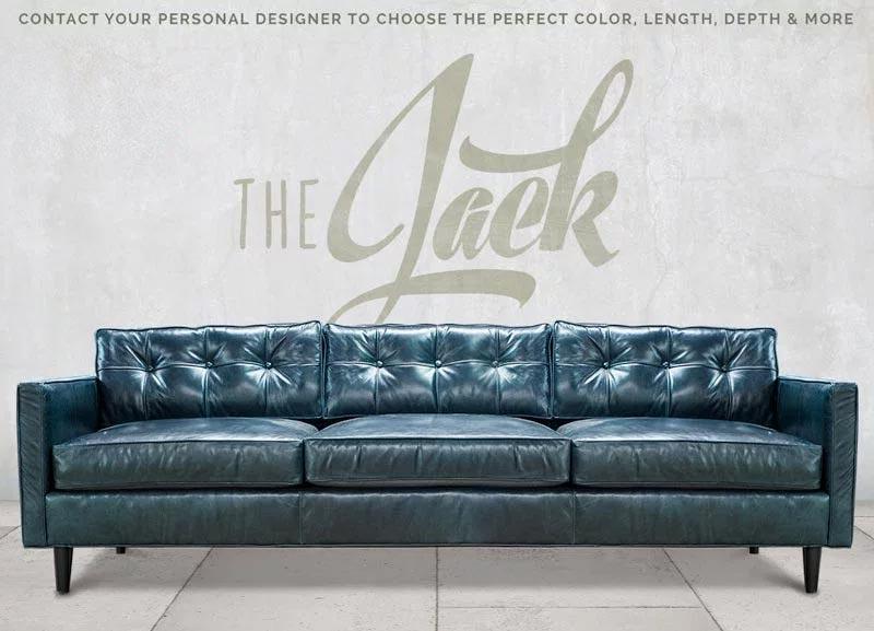 Jack Blue Leather Mid-Century Low Profile Knoll Style Sofa