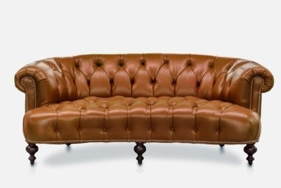 Truman Curved Chesterfield Sofa In Penny Leather
