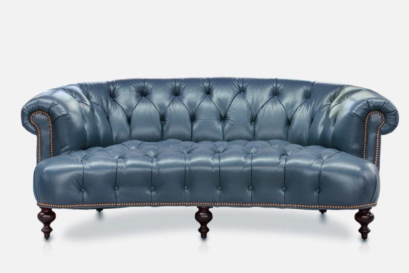 The Truman: Curved Chesterfield Sofa In Blue Leather