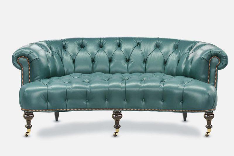 The Truman: Elegant Blue Leather Chesterfield Loveseat