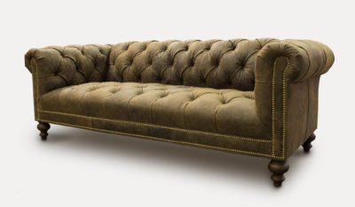 Wright Tufted-Seat Chesterfield Sofa In Vintage Brown Leather