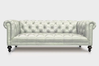 Wright Tufted-Seat Chesterfield Sofa In White Leather