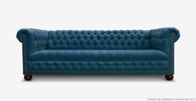 Hepburn Tufted Chesterfield Sofa In Sunbrella Canvas Sky Blue