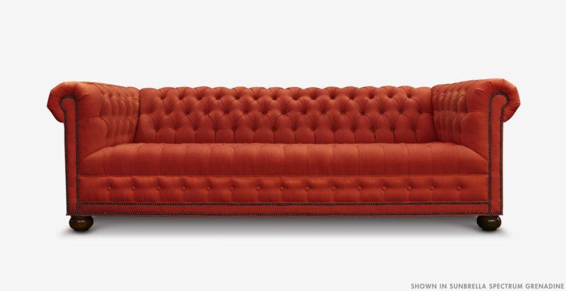 Hepburn Tufted Chesterfield Sofa In Sunbrella Spectrum Grenadine
