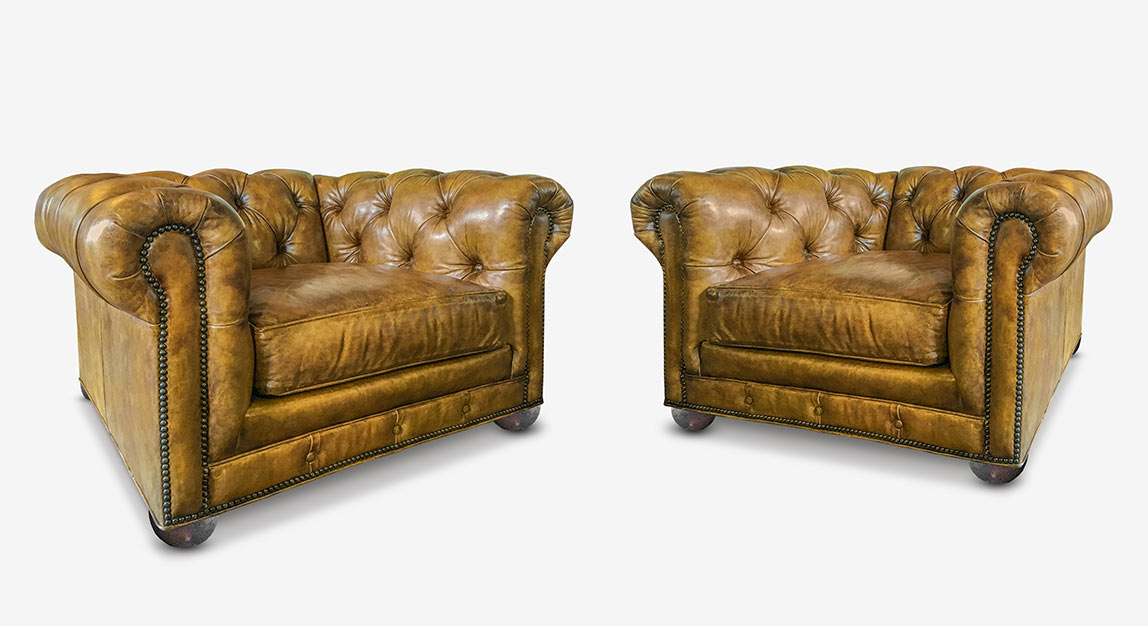 Wright Chesterfield Chairs In Hand-Stained Mont Blanc Butterscotch Leather