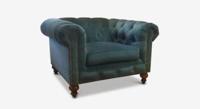 Blue Velvet Fitzgerald Chesterfield Armchair