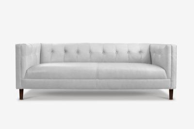 Holiday Mid-Century Tuxedo Sofa In White Leather