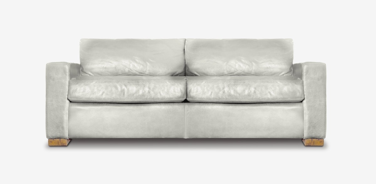 McQueen Track Arm Sofa In White Leather