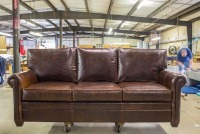 Roosevelt Brompton Brown Leather Lawson Style Roll Arm Three Seat Sofa
