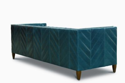 Cyan Leather Vertical Channel Tufted Mid-Century Lambert Sofa
