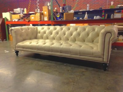 Tufted-Seat Wright Chesterfield Sofa In White Leather
