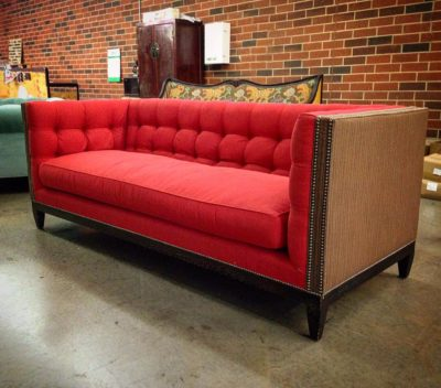 Custom Dylan Mid-Century Fabric Square Tufted Sofa