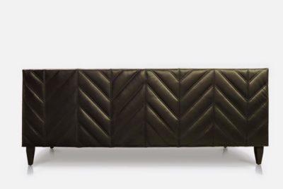 Chevron Tufted Mid-Century Black Leather Sofa