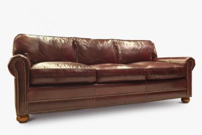Brompton Brown Leather Roosevelt Roll Arm Lawson Style Three Seat Sofa