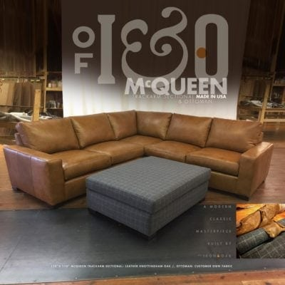McQueen Track Arm Sectional & Ottoman In Knottingham Oak Leather And Plaid Wool Fabric