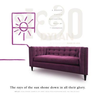 Purple Dylan Midcentury Tufted Sofa