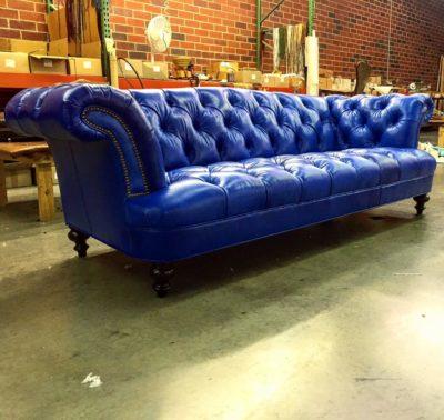 Blue Leather Hawthorne Chesterfield Pub Sofa