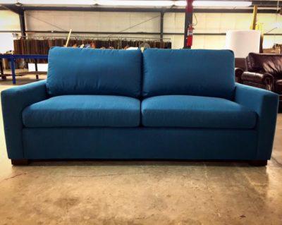 American Made Custom McQueen Sofa In Blue Fabric