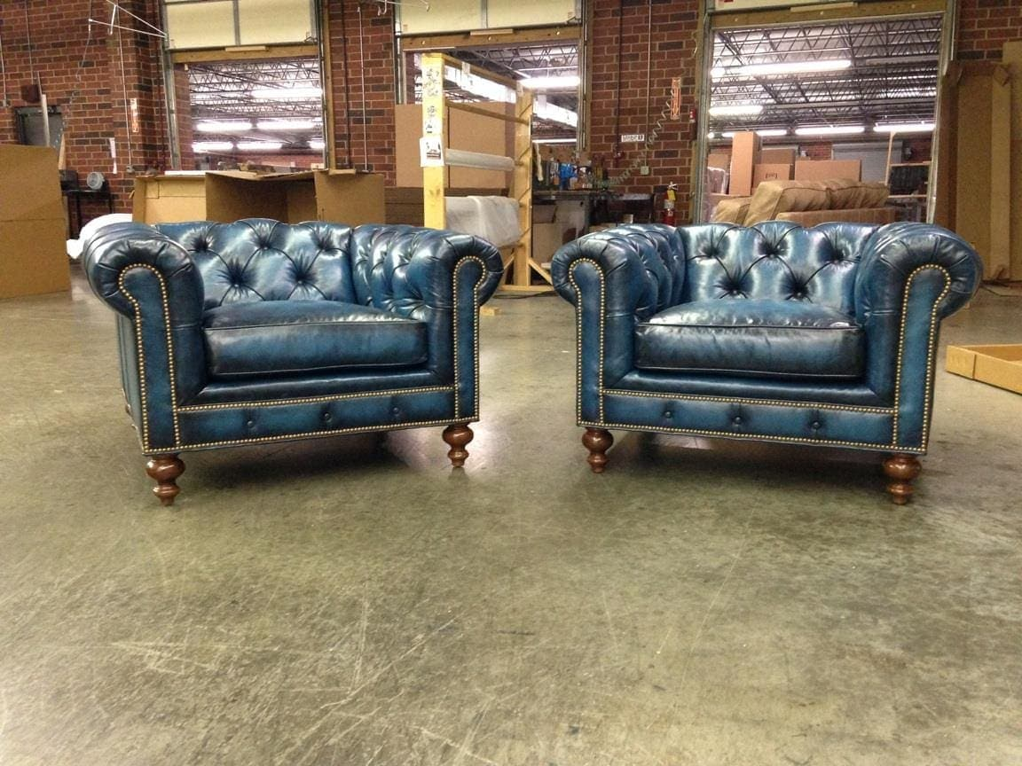 Twin Hand Stained Tufted Fitzgerald Chesterfield Armchairs