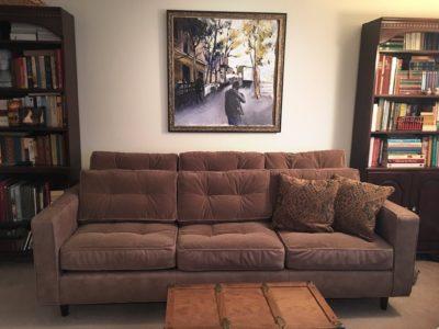 Redding Mid-Century Velvet Sofa With Optional Jack Pillows