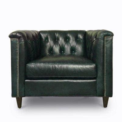 Neil Diamond Tufted Armchair In Delmar Green Leather