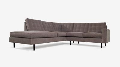 Redding Mid-Century Sectional Sofa In Grey Fabric