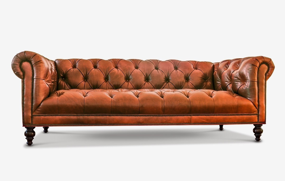 Wright Tufted-Seat Brown Leather Chesterfield Sofa