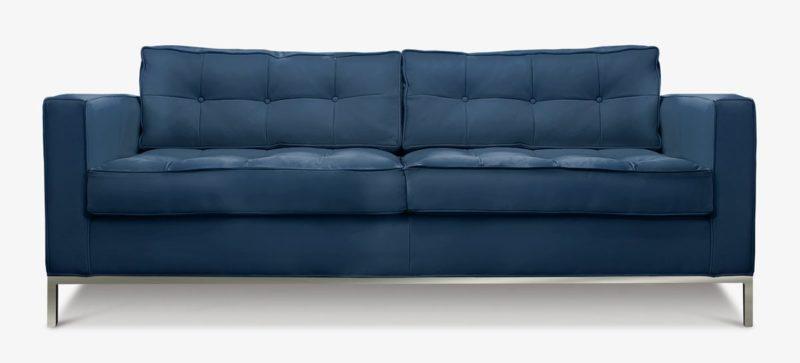 Jack Mid-Century Sofa Navy Leather On Steel Legs