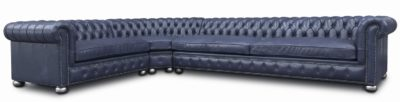 Irving Chesterfield Sectional With Radial Corner In Navy Leather