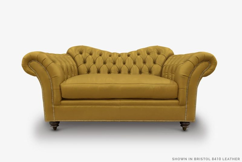 Marilyn Camelback Chesterfield Loveseat In Mustard Leather