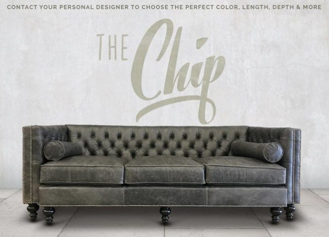 Chip Tufted Tuxedo Sofa in Pewter Gray Leather