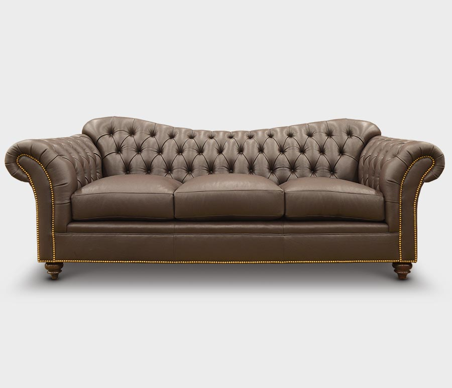 Marilyn Camelback Chesterfield Sofa in Brown Leather