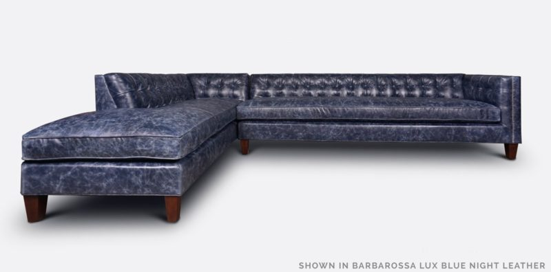 Dylan Lounger Sectional In Barbarossa Lux Blue Night Leather