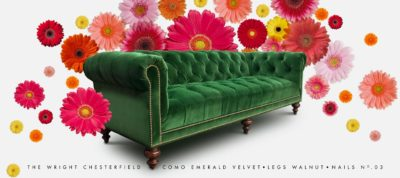 Fitzgerald Emerald Velvet Sofa With Tufted Seat