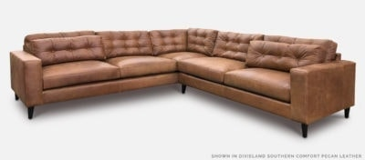 Redding Sectional In Dixieland Southern Comfort Pecan Leather