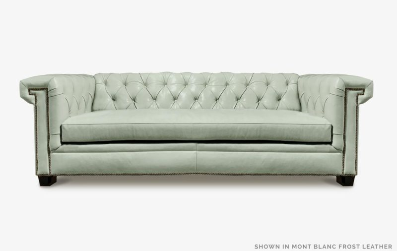 The Lewis: A Modern Chesterfield Loveseat In Mont Blanc Frost Leather