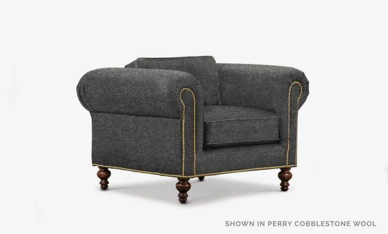 The Sidney: Modern Chesterfield Chair In Perry Cobblestone Wool