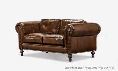 The Sidney: Modern Chesterfield Love Seat In Brompton Vintage Brown Leather