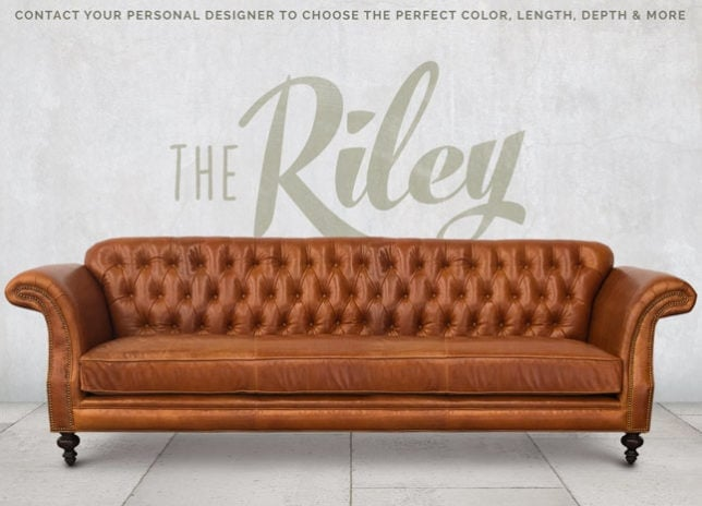 The Riley: High Back Scroll Arm Tufted Chesterfield Sofa in Echo Cognac Leather
