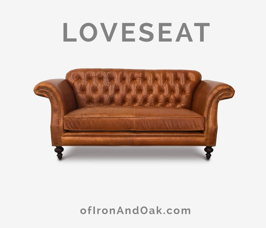 The Riley: High Back Scroll Arm Tufted Chesterfield Love Seat in Echo Cognac Leather